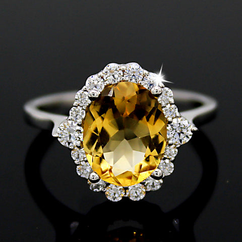 Natural Citrine Oval Halo Engagement Ring