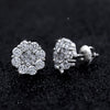 Round Princess Cut Diamond Flower Cluster Stud Earrings