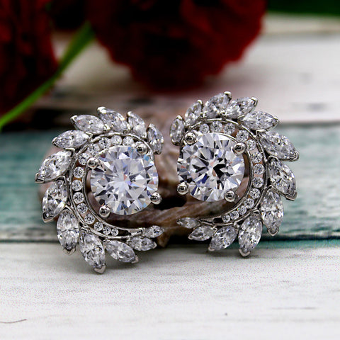 Round Marquise Art Deco Exquisite Stud Earrings