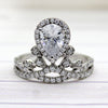 0.90 CT Pear Halo Real Diamond Crown 14kt Solid White Gold GIA Certified Ring