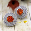 November Birthstone Orange Swarovski Double Halo Stud Earrings