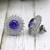 Blue Swarovski September Birthstone Double Halo Stud Earring