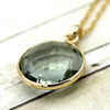 Green Amethyst Pendant Necklace 18k Solid Yellow Gold