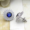 September Birthstone Double Halo Stud Earring