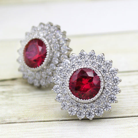 Red Swarovski July Birthstone Double Halo Stud Earring