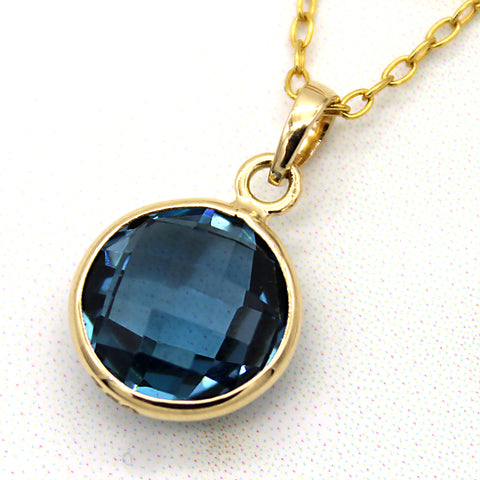 Natural London Blue Topaz Pendant 18k Solid Yellow Gold