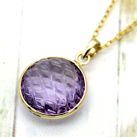 Carved Natural Amethyst Pendant 18k Solid Yellow Gold