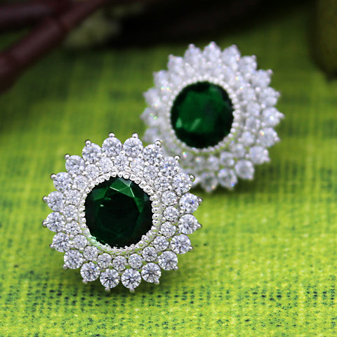 Green Swarovski May Birthstone Double Halo Stud Earring