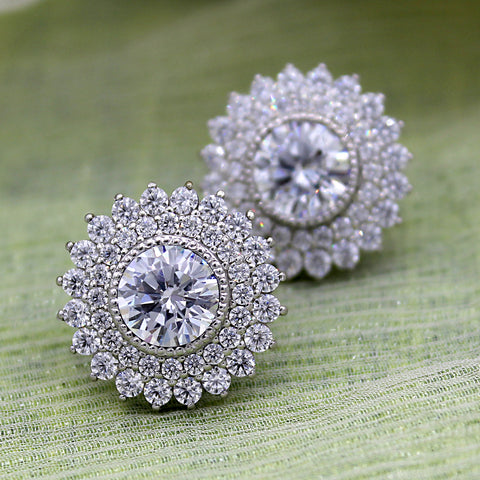 White Swarovski April Birthstone Double Halo Stud Earring