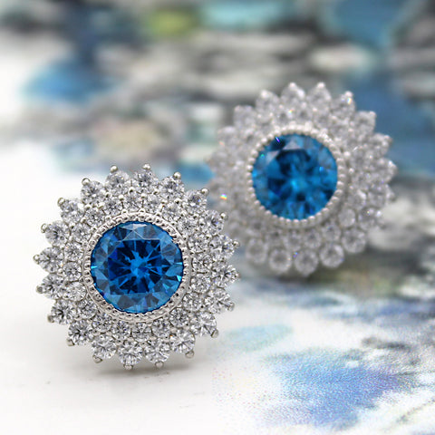 Blue Swarovski December Birthstone Double Halo Stud Earring
