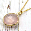 Natural Rose Quartz Pendant 18k Solid Yellow Gold
