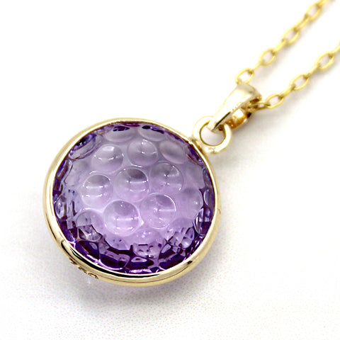 Natural Amethyst Pendant 18k Solid Yellow Gold