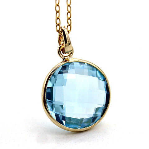 Natural Blue Topaz Pendant Necklace 18k Solid Yellow Gold