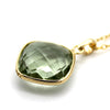 Natural Green Amethyst Pendant 18k Solid Yellow Gold
