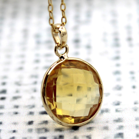 Citrine Pendant Necklace 18k Solid Yellow Gold