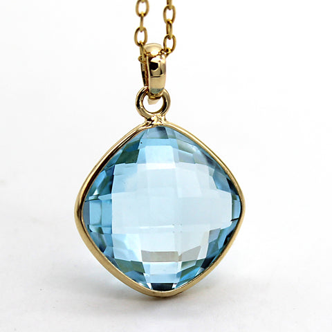 Natural Sky Blue Topaz Pendant 18k Solid Yellow Gold
