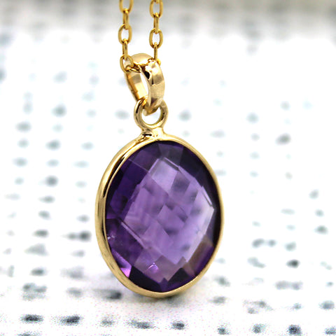 Purple Amethyst Oval Pendant 18k Solid Yellow Gold