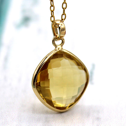 Natural Citrine Pendant Necklace 18k Solid Yellow Gold