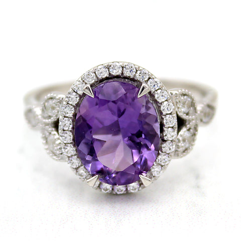 Natural Amethyst Oval Halo Engagement Ring