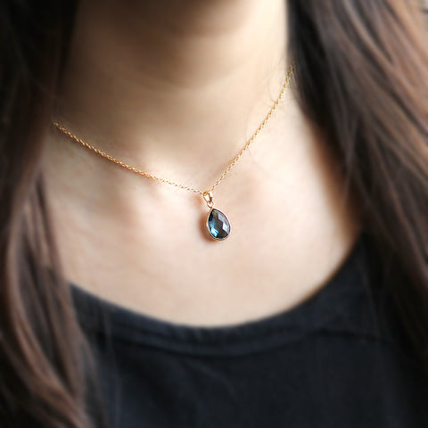 Natural London Blue Topaz Pear Pendant 18k Solid Yellow Gold