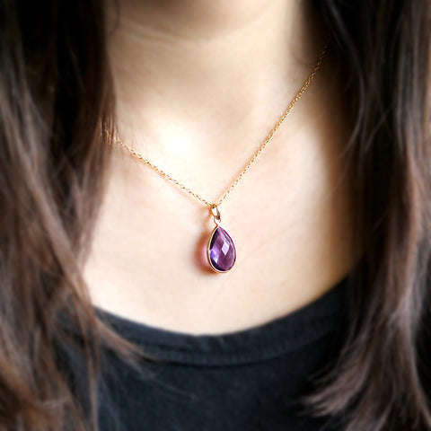 Natural Amethyst Pear Pendant 18k Solid Yellow Gold
