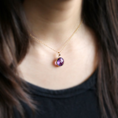 Natural Amethyst Pendant Necklace 18k Solid Yellow Gold