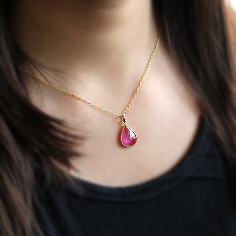 Natural Ruby Pendant 18k Solid Yellow Gold