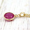 Natural Ruby Diamond Pendant 18k Solid Yellow Gold