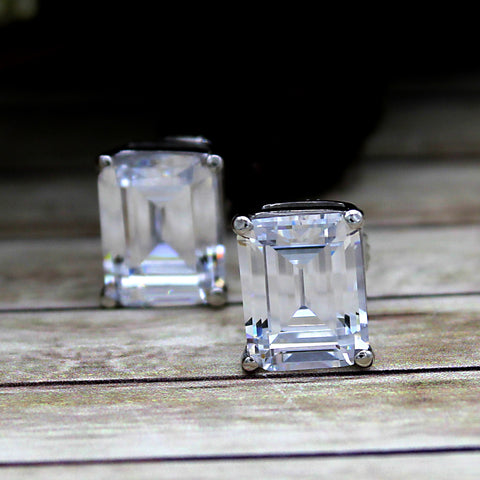 5 TCW Emerald Cut Classic Solitaire Swarovski Diamond Everyday Stud Earrings