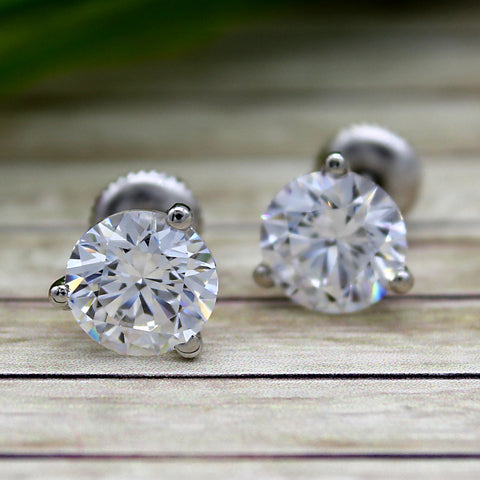 9 MM Round Classic Solitaire Swarovski Diamond Three Prong Everyday Stud Earring