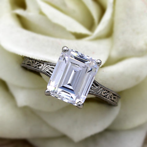 3.75 CT Emerald Cut Solitaire Swarovski Diamond Ring Sterling Silver Oxidized