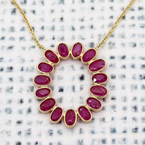 Ruby Oval Pendant 18kt Yellow Gold Bezel Set