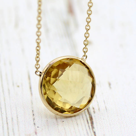 Citrine Minimalist Pendant With Chain