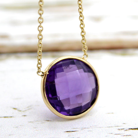 Amethyst Round 18kt Yellow Gold Pendant