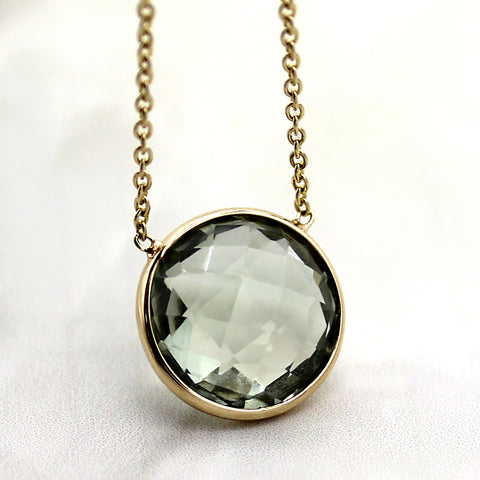 Green Amethyst Minimalist Pendant Necklace