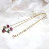 Emerald Ruby Tear Drop Minimalist Necklace