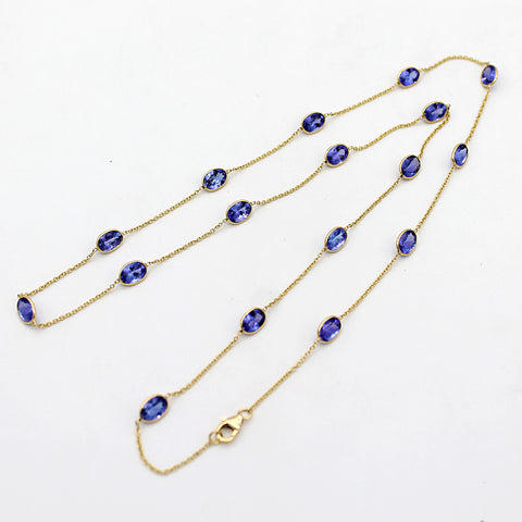 "Tanzanite Beaded Chain Necklace 24"" Length"