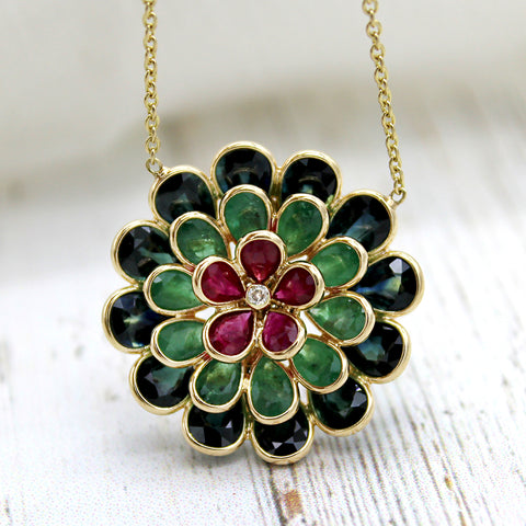 Ruby Emerald Flower Pendant Diamond Blue Topaz Necklace