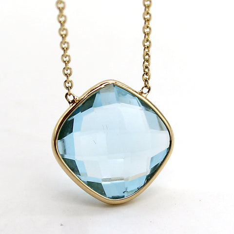 Sky Blue Topaz Fancy Cushion Cut Pendant