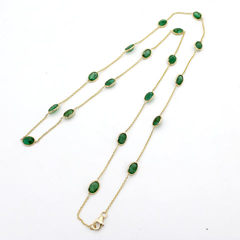 "Emerald Beaded Chain Necklace 24"" Length"