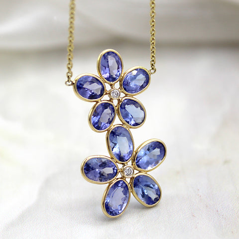 Tanzanite Double Flower Diamond Pendant Necklace