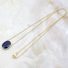 Natural Oval Blue Sapphire 18kt Yellow Gold Minimalist Pendant
