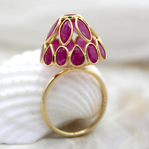 Ruby Dome Solid 18kt Yellow Gold Statement Ring