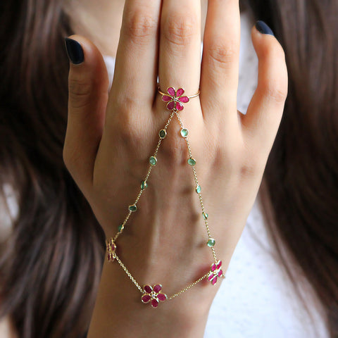 Ruby Emerald Ring Bracelet