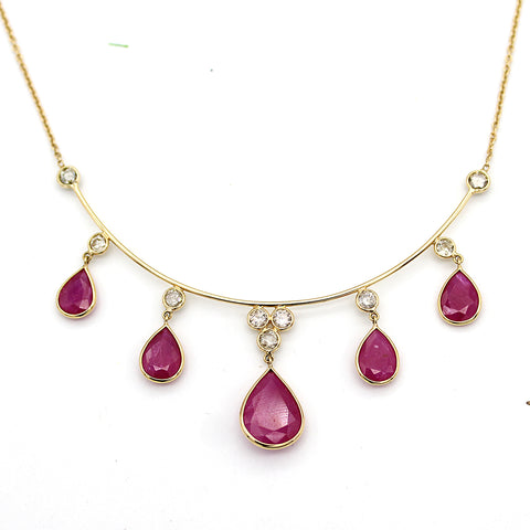 Natural Ruby Diamond Tear Drop Necklace