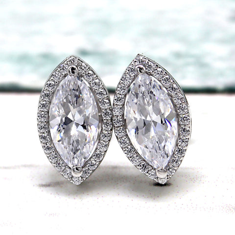 2.75 TCW Marquise Halo Stud Swarovski Diamond Earrings
