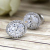 14kt Real White Gold Oval-Cut Halo Diamond Wedding Stud Earrings