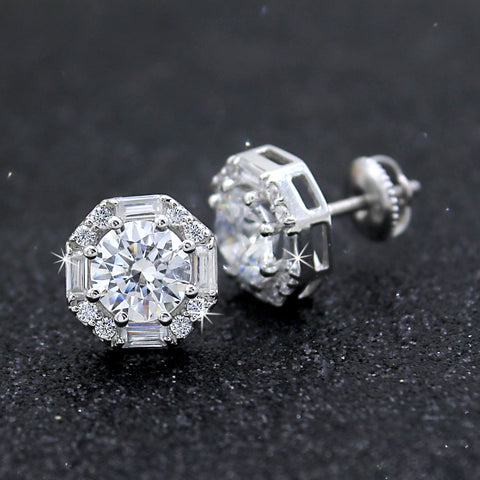 Exquiste Round & Baguette Halo Diamond Wedding Stud Earrings 14kt White Gold