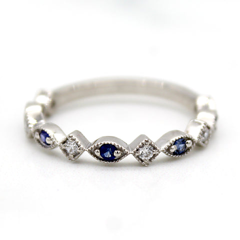 Natural Blue Sapphire Stackable Eternity Band