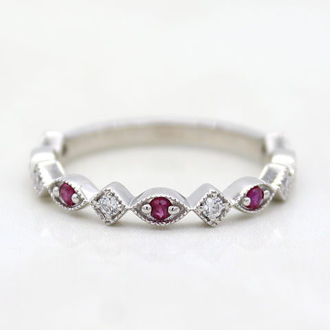 Natural Ruby Stackable Eternity Band